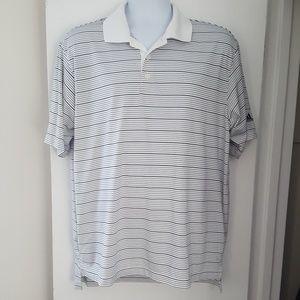Adidas Climalite White Striped Polo Golf Shirt